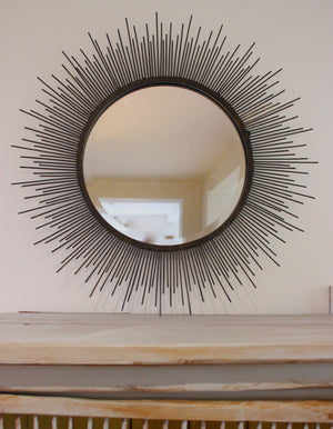 Sunburst Mirror In Aged Metal - The Forest & Co.