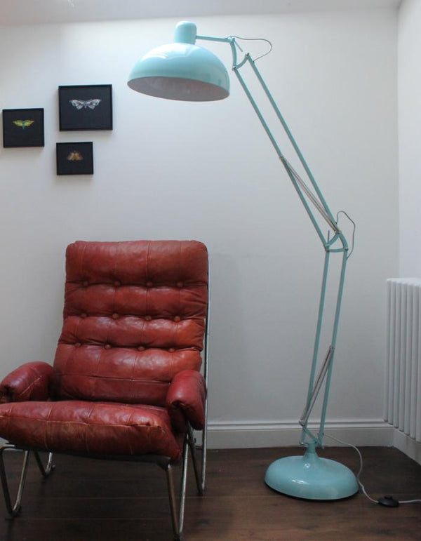 Powder Blue Angled Floor Lamp
