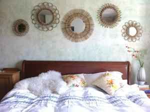 Vintage Style Rattan Sunburst Mirrors Set - The Forest & Co.