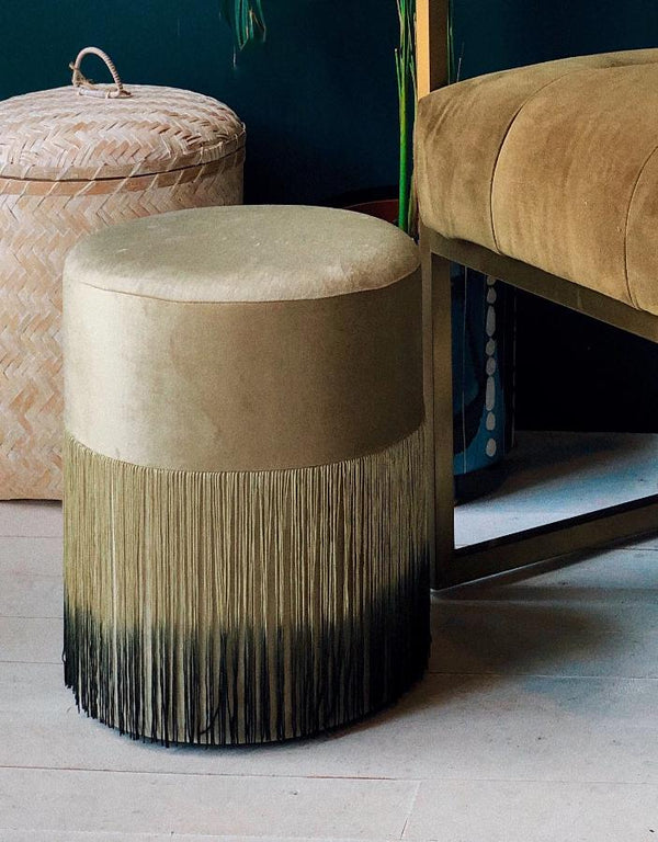 Velvet , Deep Fringed Stool