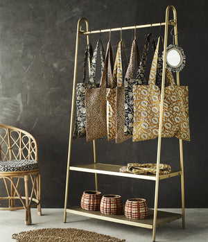 Brass Clothes Rail With A Shelf PRE ORDER FEBRUARY