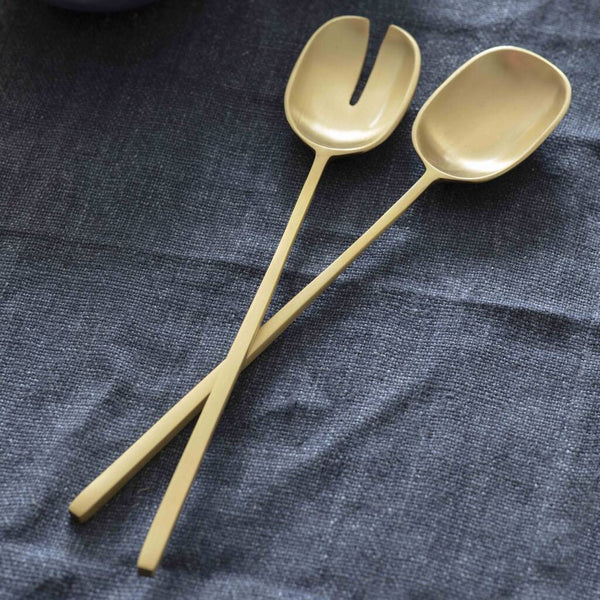 Brushed Brass Serving Spoons