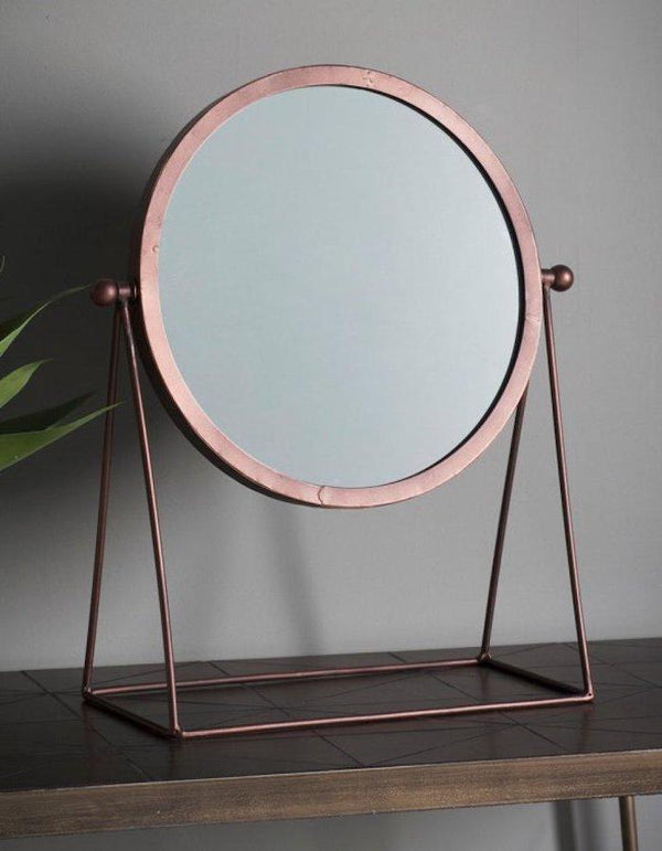 Bronze Round Mirror On A Stand