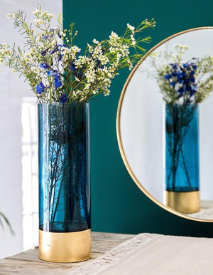 Azure Blue And Gold Embossed Vase in Two sizes