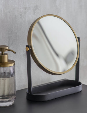 Black And Gold Double Sided Magnified Vanity Mirror