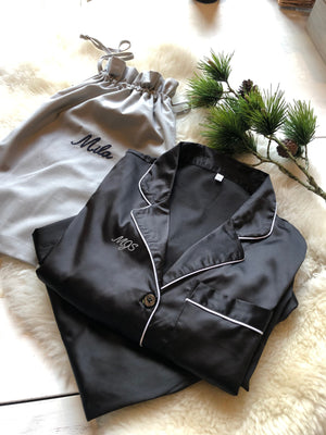 Monogrammed Black Sateen Pyjamas