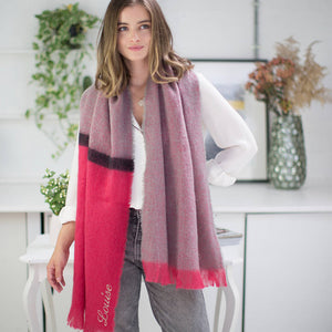 Personalised Soft Pink Blanket Scarf With Stripe