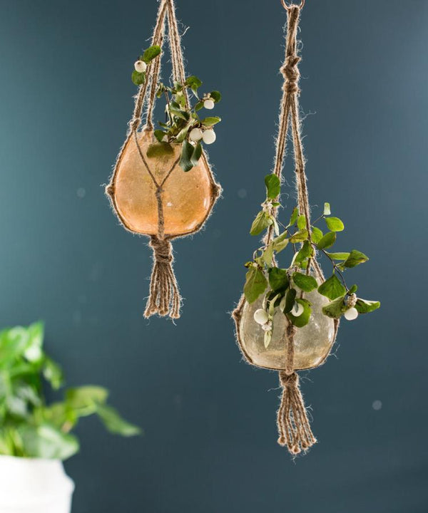 Frosted Glass And Rope Hanging Planters