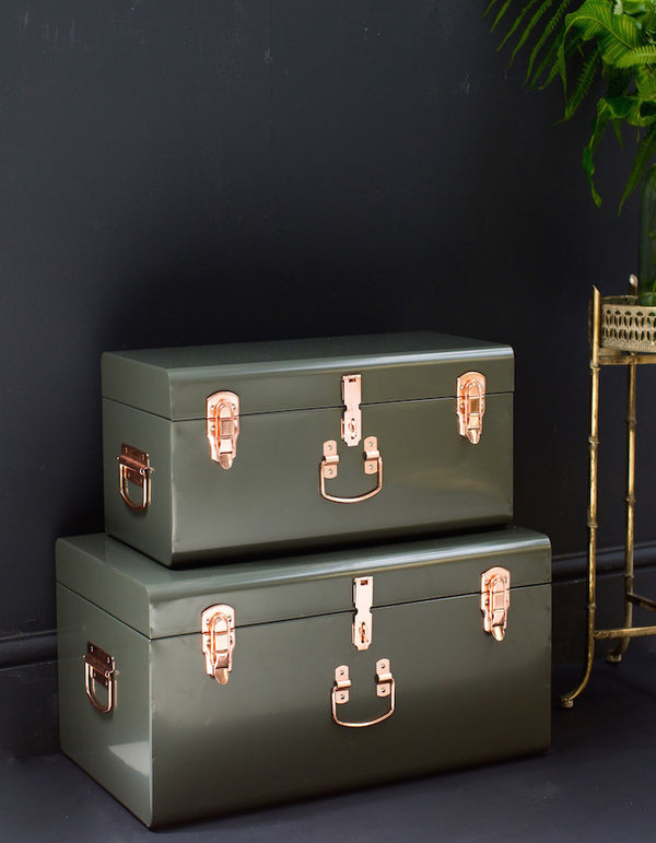 Set Of Two Metal Trunks