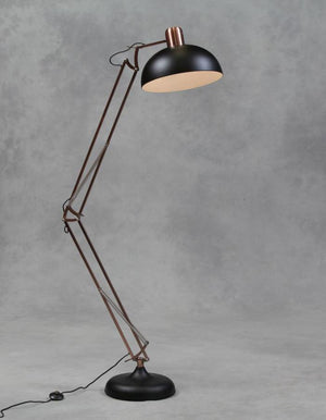 Copper And Matt Black Floor Lamp