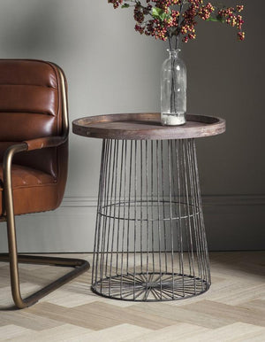 Wood And Metal Wire Circular Side Table