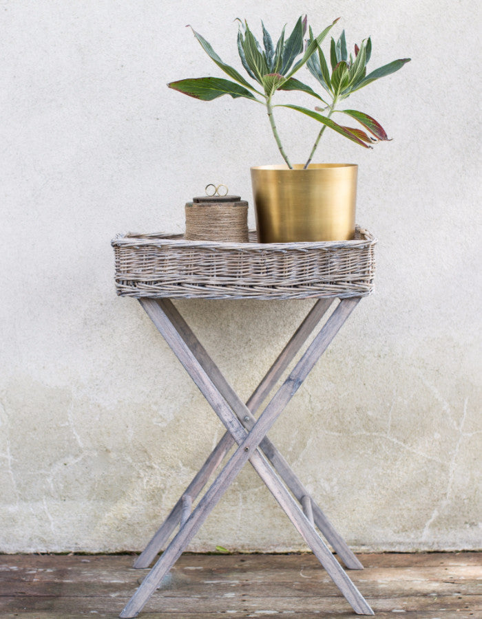 Wicker And Wood Tray Table ...
