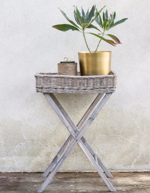 Wicker And Wood Tray Table