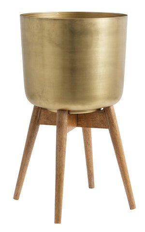 Brass Plant Pot On A Wooden Stand