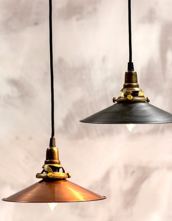 Burnished Copper Or Steel Pendant Light