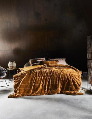 Ocher Velvet Bed Throw