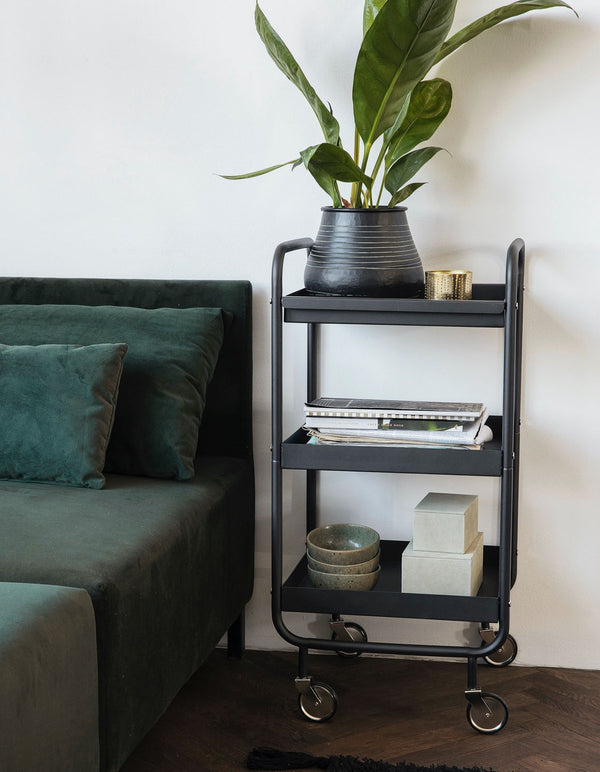 Black Roll Tray Trolly