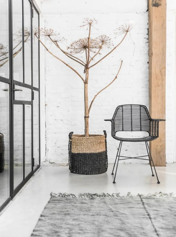 Black, Coated Rattan Chair