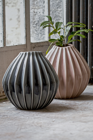 Stunning Grey & Dusk Large Pleated Vase - The Forest & Co.