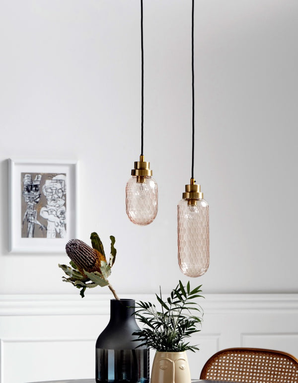 Cut Glass, Rose And Gold Pendant Lights