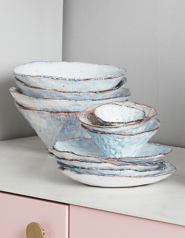 Handmade Ice Blue Stoneware Crockery PRE ORDER FEBRUARY
