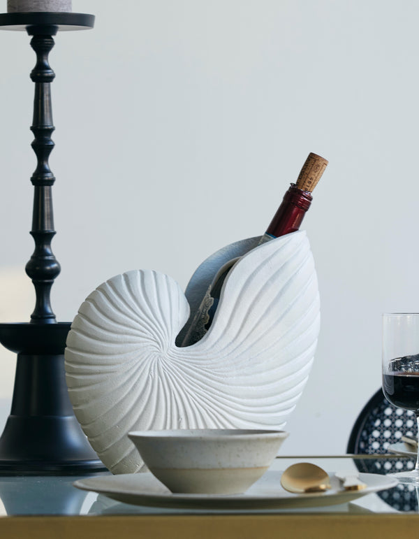 Sculptured White Shell Vase