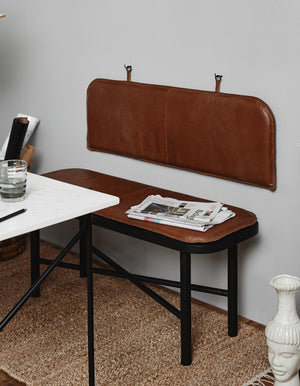 Wood Bench With Brown Leather Cushion