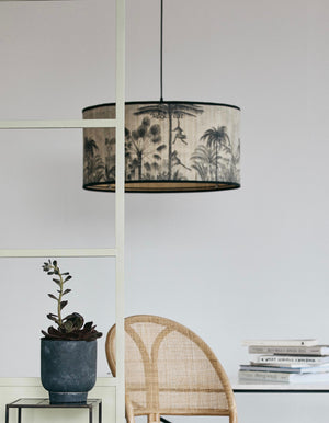 Tropical Palm Print Bamboo Lampshade
