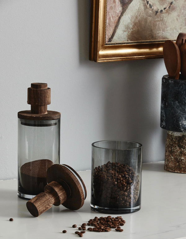 Smoked Glass and Wooden Topped Storage Jars  - PRE ORDER MARCH