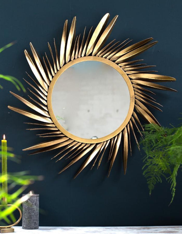 Large Gold Feathered Sunburst Mirror