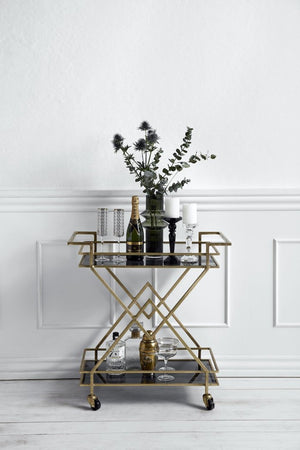 Golden And Black Glassed Drinks Trolley