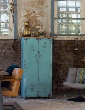 Vintage Style Iron Blue Cabinet