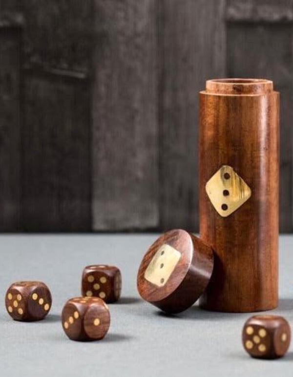 Gold Inlaid Dice Set