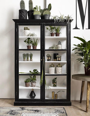 Double Black Wood Display Cabinet