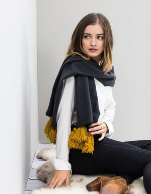 Personalised Mustard Pom Pom Wool Mix Scarf