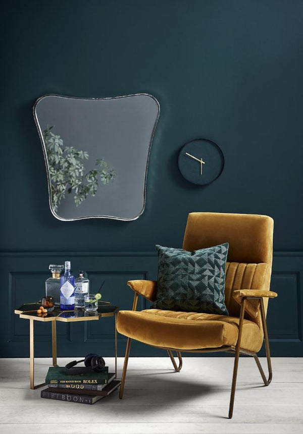 Velvet Mustard High Backed Chair
