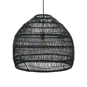 Extra Large Black Hand Woven Wicker Pendant