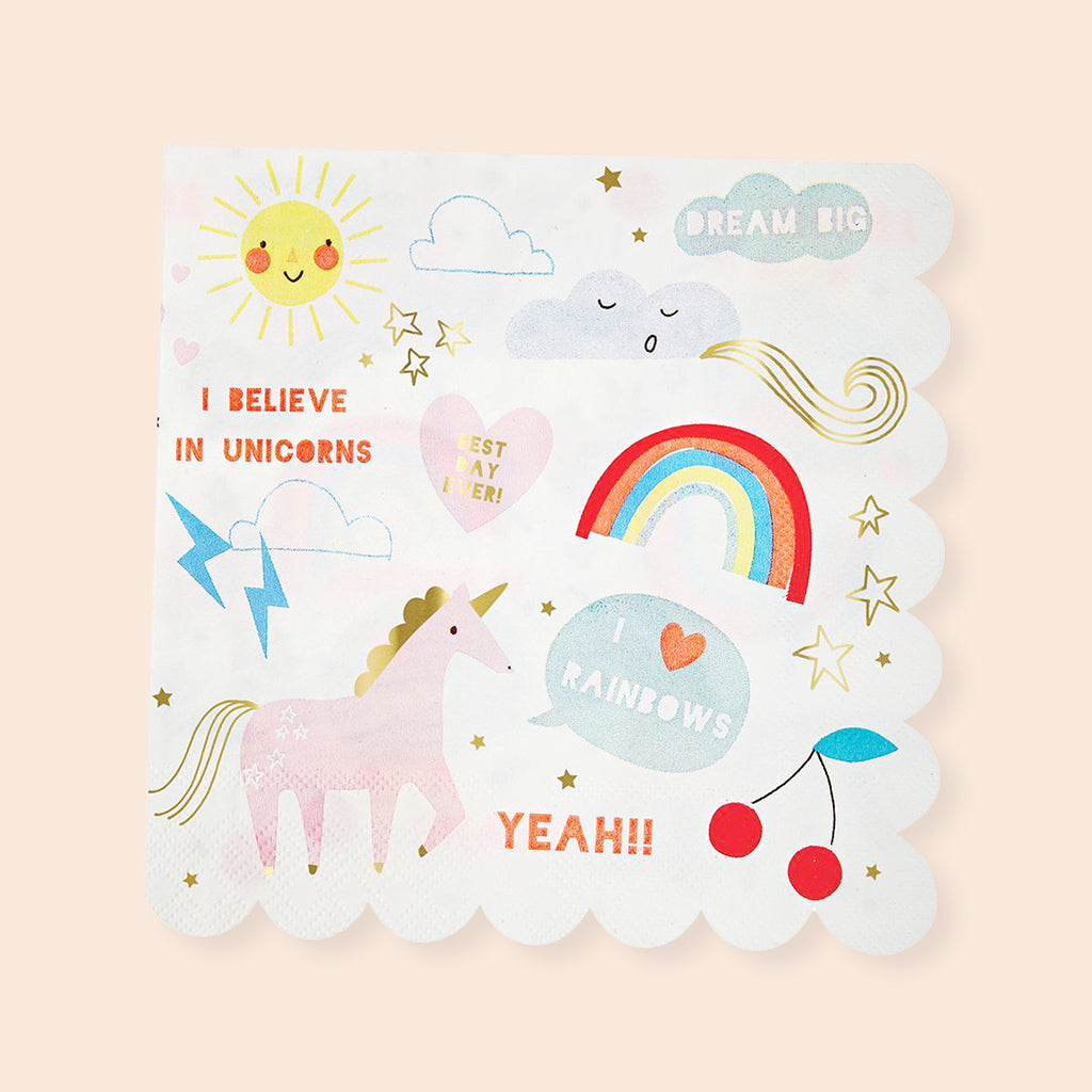 Meri Meri Large Rainbow & Unicorn Napkins