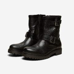Selected Femme Betty Black Crocko Biker Boots