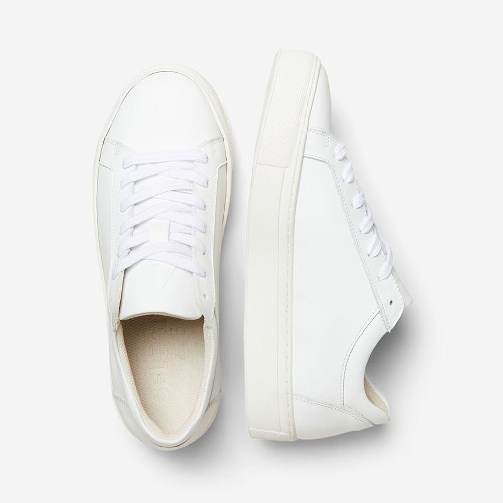 Selected Femme Emma White Leather Trainer