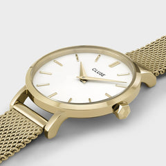 Cluse Boho Chic Petite Mesh White & Gold Watch