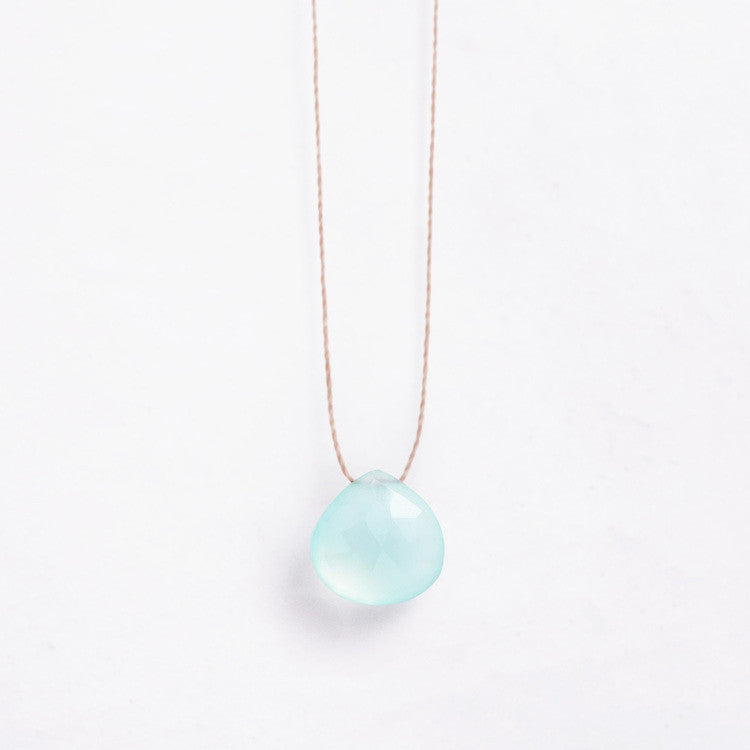 Wanderlust Life Chalcedony Sea Glass Necklace - Perfect understated jewellery for surfer girls and lovers of the ocean -  Shop the collection online at Jo & Co Home, Cornwall