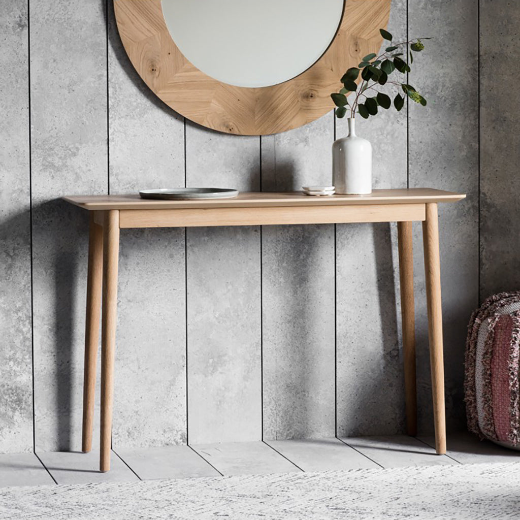 Oak Chevron Console Table