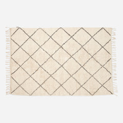 Cream & Grey Diamond Pattern Cotton Rug