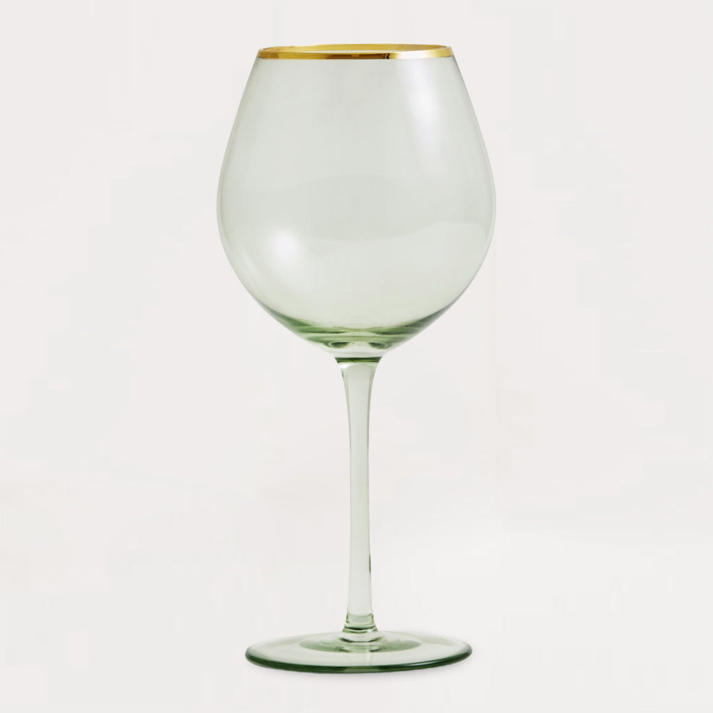Greena Gold Rim Wine Glass