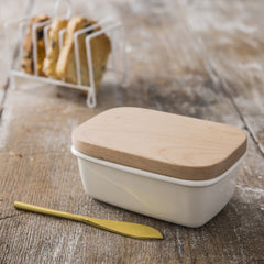 White Enamel Butter Dish With Wooden Lid