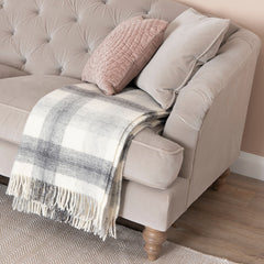 Slate Grey Meadow Check Wool Throw