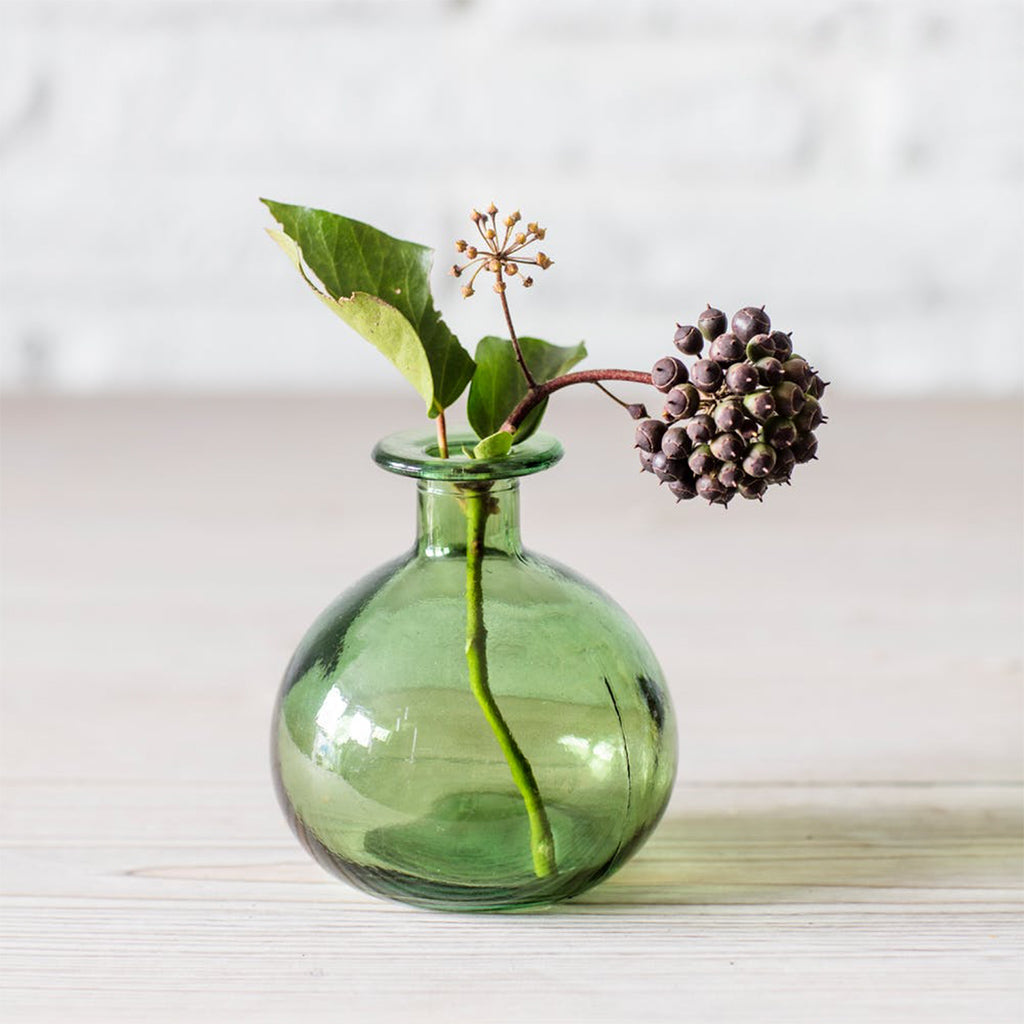Green Recycled Glass Round Bud Vase
