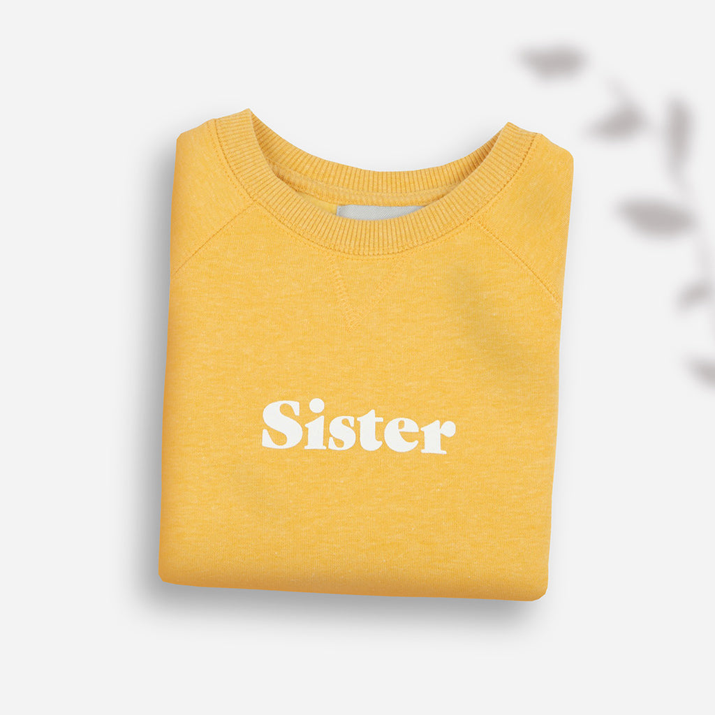 Bob & Blossom Faded Sunshine Yellow 'Sister' Children's Sweatshirt