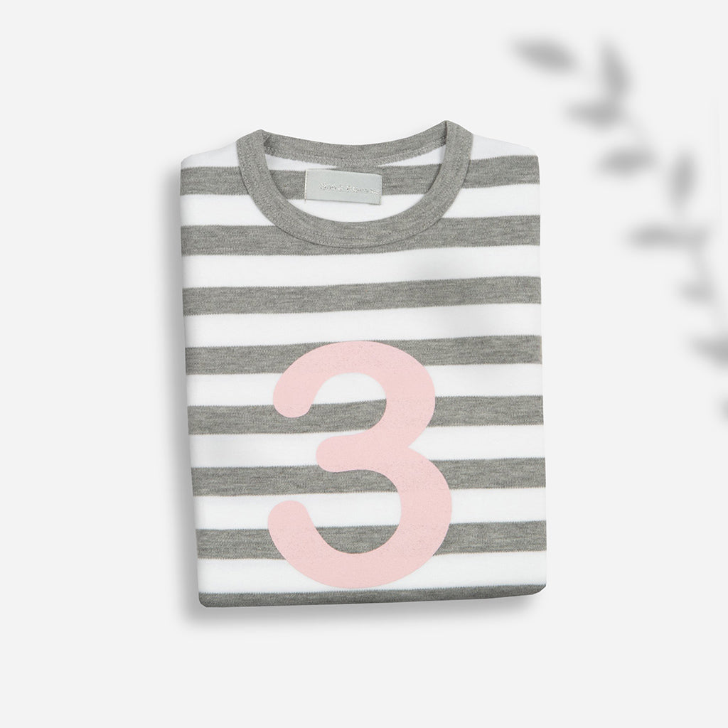 Bob & Blossom Grey & White Striped No.3 Children's T-Shirt